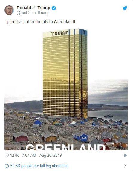 Đăng tấm hình tòa tháp vàng siêu to khổng lồ ở Greenland, ông Trump lại gây bất ngờ với lời hứa mới - Ảnh 1.