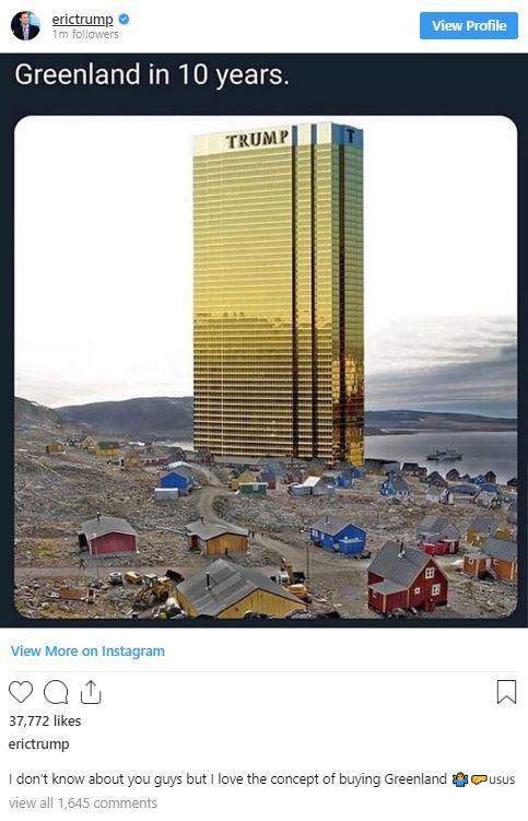 Đăng tấm hình tòa tháp vàng siêu to khổng lồ ở Greenland, ông Trump lại gây bất ngờ với lời hứa mới - Ảnh 3.
