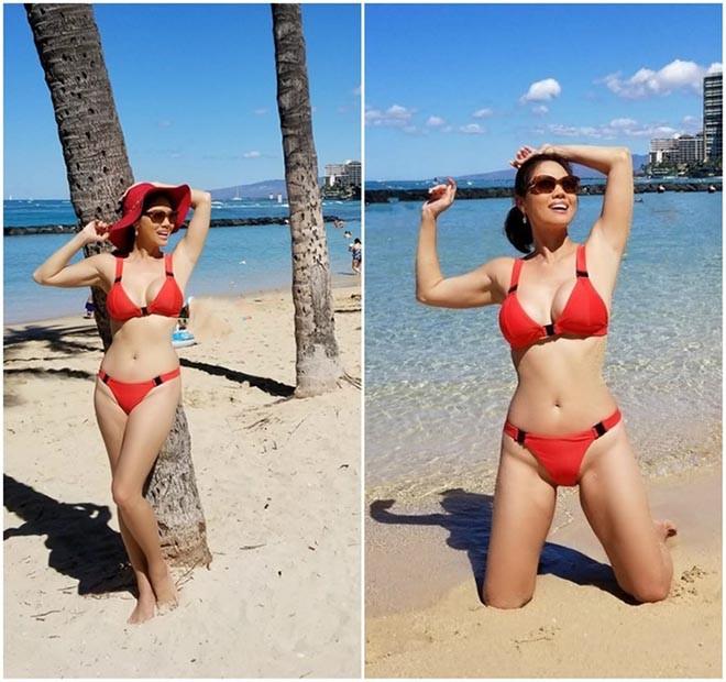 Nữ ca sĩ Việt từng có 3 đời chồng tung loạt ảnh bikini gợi cảm ở tuổi 46 - Ảnh 1.