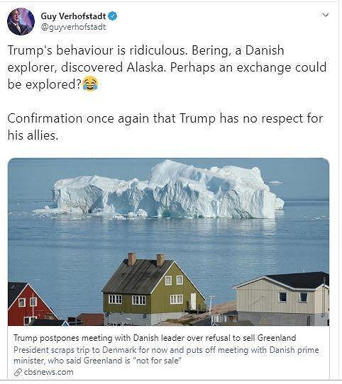 Cựu thủ tướng Bỉ mỉa mai ông Trump: Đổi Alaska lấy Greenland - Ảnh 1.