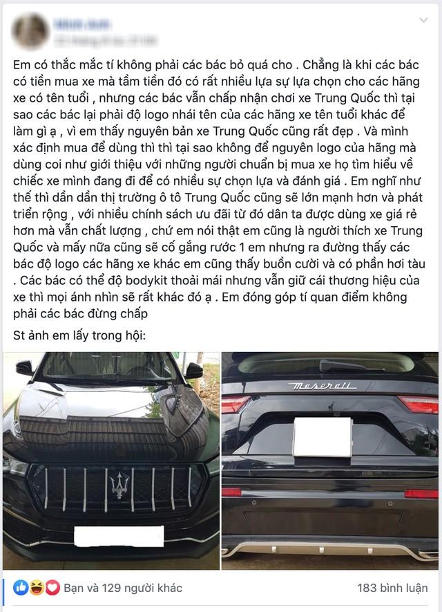 Tranh cãi nảy lửa chuyện xe Trung Quốc độ logo xe sang tại Việt Nam: Thấy đẹp thì độ hay sĩ diện hão? - Ảnh 1.
