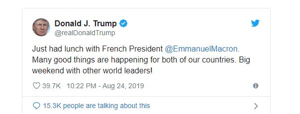 Tổng thống Trump ăn trưa với người lạ ở G-7?  - Ảnh 1.
