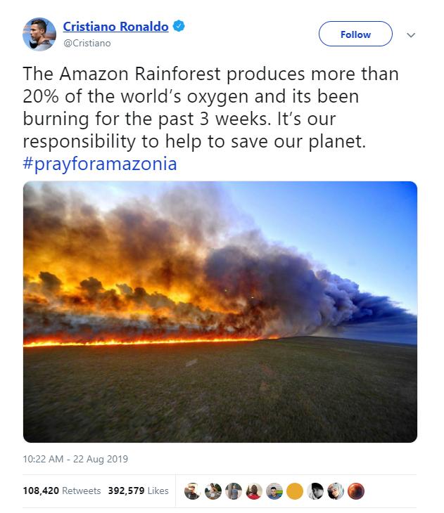 Hàng loạt sao cầu nguyện cho rừng Amazon, nhưng lại share nhầm ảnh đám cháy ở chỗ khác, kể cả Ronaldo, Djokovic hay Madonna - Ảnh 2.