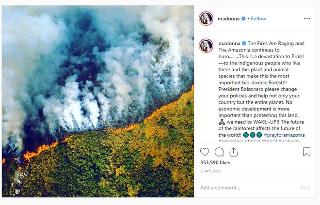 Hàng loạt sao cầu nguyện cho rừng Amazon, nhưng lại share nhầm ảnh đám cháy ở chỗ khác, kể cả Ronaldo, Djokovic hay Madonna - Ảnh 5.