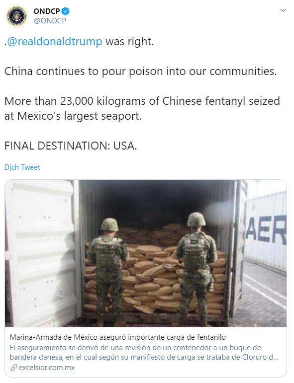 Phát hiện 23 tấn chất độc khủng khiếp có xuất xứ TQ, đủ khả năng quét sạch 1 tiểu bang của Mỹ - Ảnh 1.