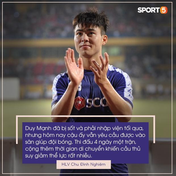 HLV Hà Nội FC tiết lộ Duy Mạnh phải nhập viện vì sốt cao ngay trước trận đấu với Bình Dương - Ảnh 1.