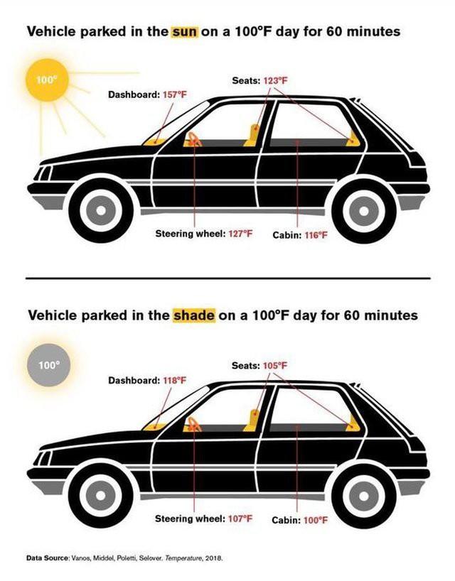 Nhiệt độ trên xe hơi là bao nhiêu nếu đóng kín cửa để ngoài trời? - Ảnh 2.