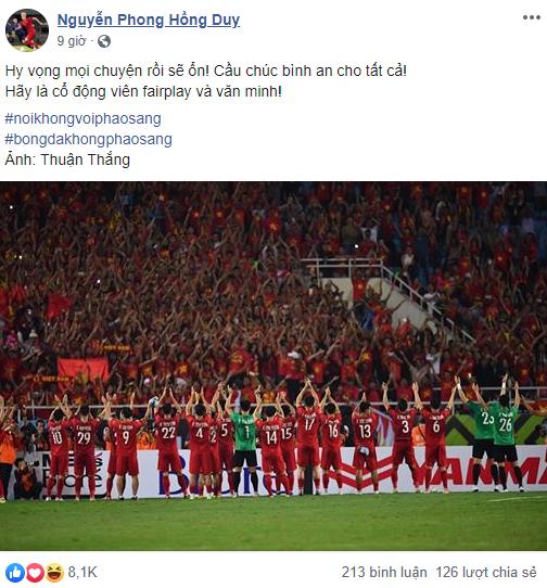 Tuyển thủ quốc gia Việt Nam cầu chúc cho fan nữ bị thương vì pháo sáng - Ảnh 2.
