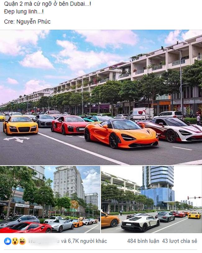 """Dân mạng """"hoảng hồn"""" với loạt siêu xe ở đâu xuất hiện ngập phố Sài Gòn, đến phải thốt lên: Quận 2 mà ngỡ Dubai bà con ơi - Ảnh 1."""