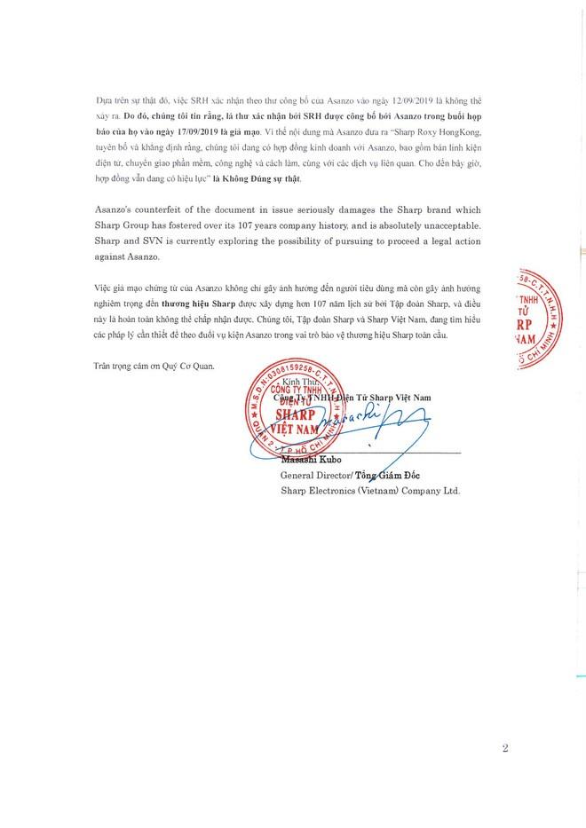 Sharp tuyên bố văn bản Asanzo dùng để minh oan là giả mạo, sẽ khởi kiện để bảo vệ thương hiệu - Ảnh 4.