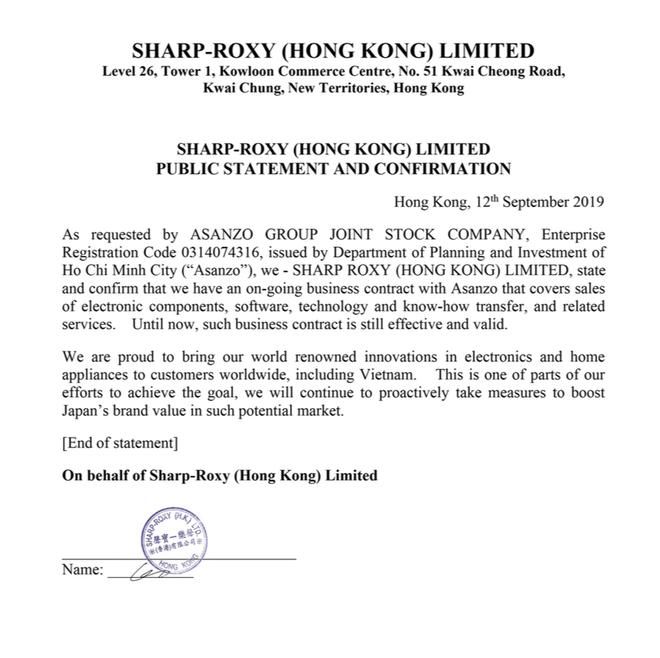 Sharp tuyên bố văn bản Asanzo dùng để minh oan là giả mạo, sẽ khởi kiện để bảo vệ thương hiệu - Ảnh 1.