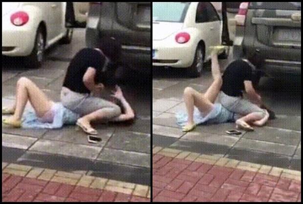 Bất ngờ gặp tiểu tam đi trên đường, vợ lao vào đánh ghen khiến dân mạng khiếp sợ - Ảnh 3.
