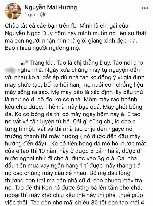 Vụ cầu thủ Sài Gòn FC bạc tình, nuôi bồ nhí: Chị chồng tố lại em dâu sống không có tâm - Ảnh 1.
