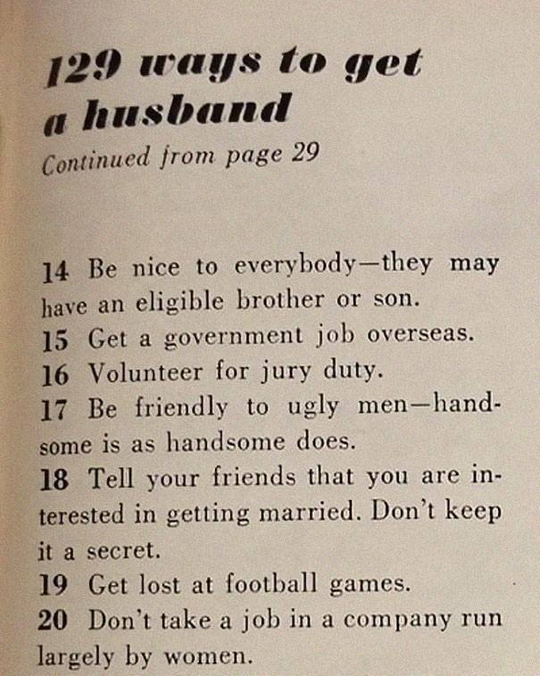 Bài báo 129 cách để quý cô tóm được một ông chồng từ năm 1958 sẽ khiến bạn nhận ra thế giới này đã thay đổi quá nhiều! - Ảnh 2.
