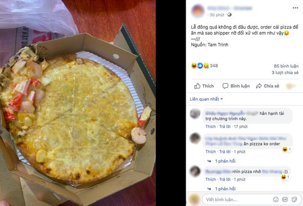 """Vì mải đu đưa, anh shipper """"remix"""" pizza thành phiên bản """"khoả thân"""", cô nàng nhận bánh mà không biết nên khóc hay cười - Ảnh 1."""