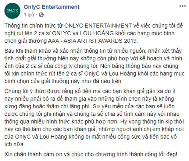 Thêm Only C, Lou Hoàng, Min và loạt ca sĩ rút tên khỏi đề cử, BTC AAA 2019 quyết định hủy bỏ hạng mục của nghệ sĩ Việt - Ảnh 7.
