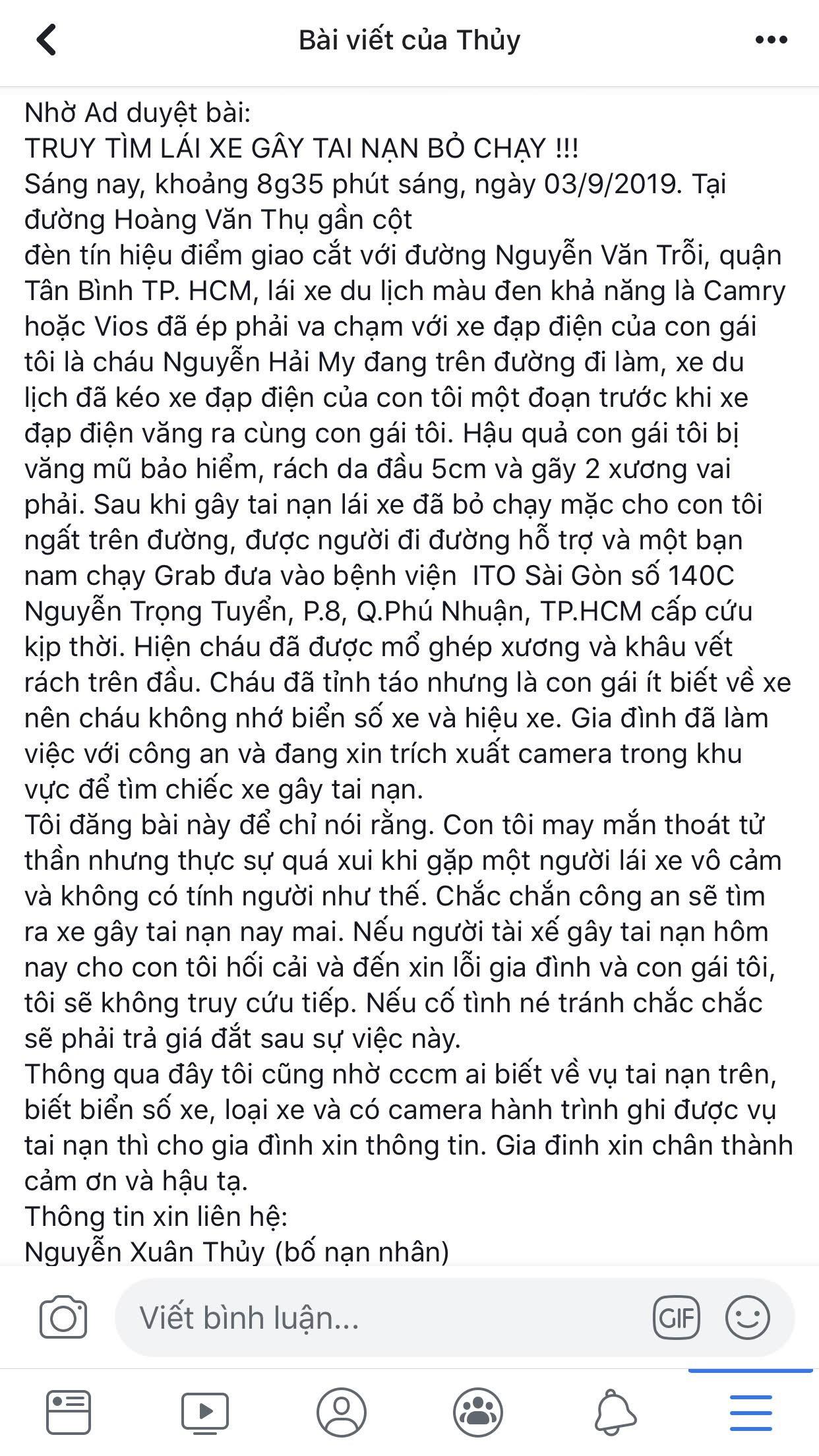 VZN News: Bố lên mạng truy tìm kẻ đâm con gái rồi bỏ chạy và lời cảm ơn tới người tài xế vô danh  - Ảnh 2.