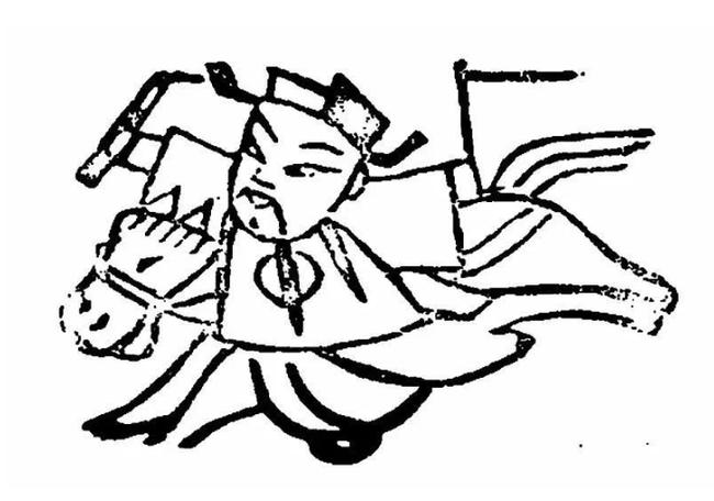 Một bức vẽ Táo Quân về trời bằng ngựa.