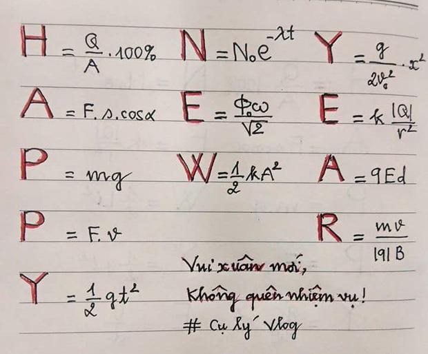 Muốn học trò nghỉ Tết không quên bài vở, thầy giáo Vật Lý tặng một câu chúc khiến ai nhìn vào cũng khóc thét - Ảnh 1.