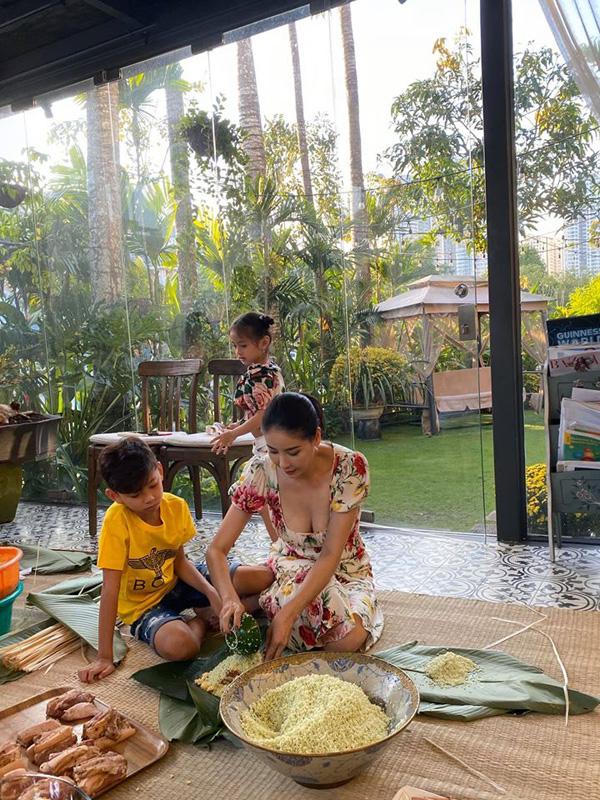 Giỏi giang trên thương trường, lộng lẫy ở sân khấu, Hoa hậu Hà Kiều Anh vẫn biết gói hơn 100 cái bánh chưng đón Tết - Ảnh 3.