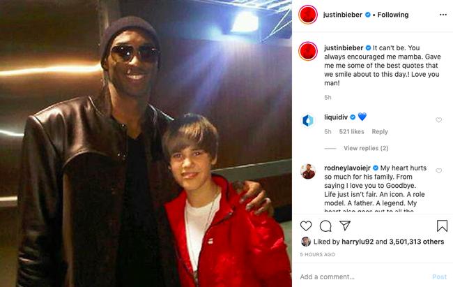 Justin Bieber, Taylor Swift... cùng loạt sao nổi tiếng thế giới bàng hoàng trước tin huyền thoại bóng rổ Kobe Bryant và con gái 13 tuổi qua đời vì tai nạn trực thăng - Ảnh 8.