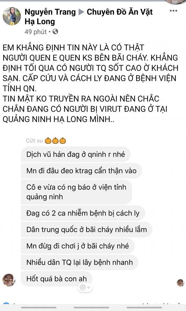 Xử lý một phụ nữ ở Quảng Ninh tung tin đồn nhiễm vi rút corona lên facebook gây hoang mang - Ảnh 2.