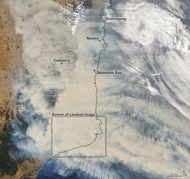 Đại thảm họa cháy rừng Úc nhìn từ không gian: Cả nước như quả cầu lửa, những mảng xanh trù phú bị thay bằng màu khói trắng tang thương - Ảnh 1.
