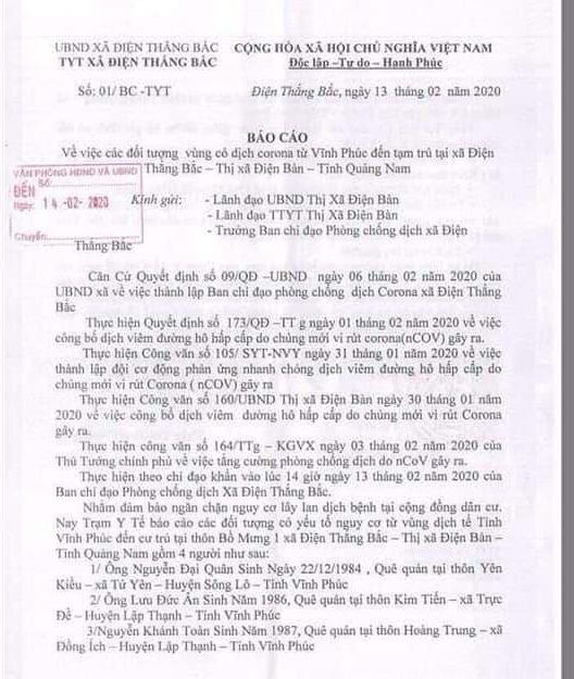 Nhóm người Vĩnh Phúc ở Quảng Nam được đề nghị phải cách ly - Ảnh 1.
