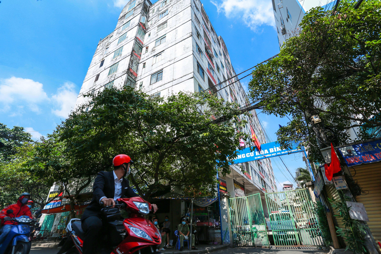 [ẢNH] Phong toả chung cư có ca nhiễm Covid-19 thứ 48 ở Sài Gòn, cư dân nhận tiếp tế lương thực qua hàng rào - Ảnh 2.