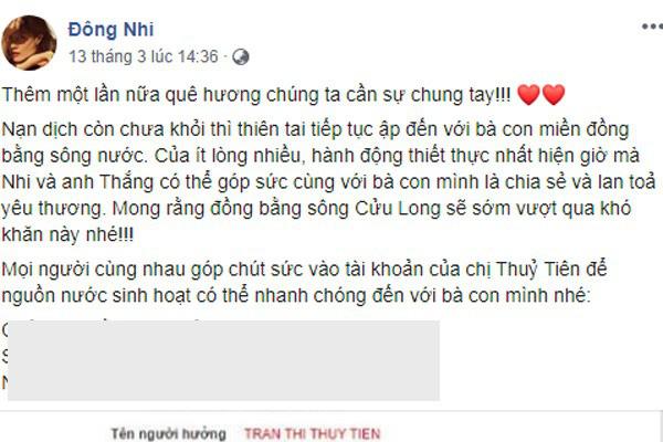Tranh cãi chuyện vợ chồng Đông Nhi - Ông Cao Thắng ủng hộ 50 triệu từ thiện - Ảnh 1.