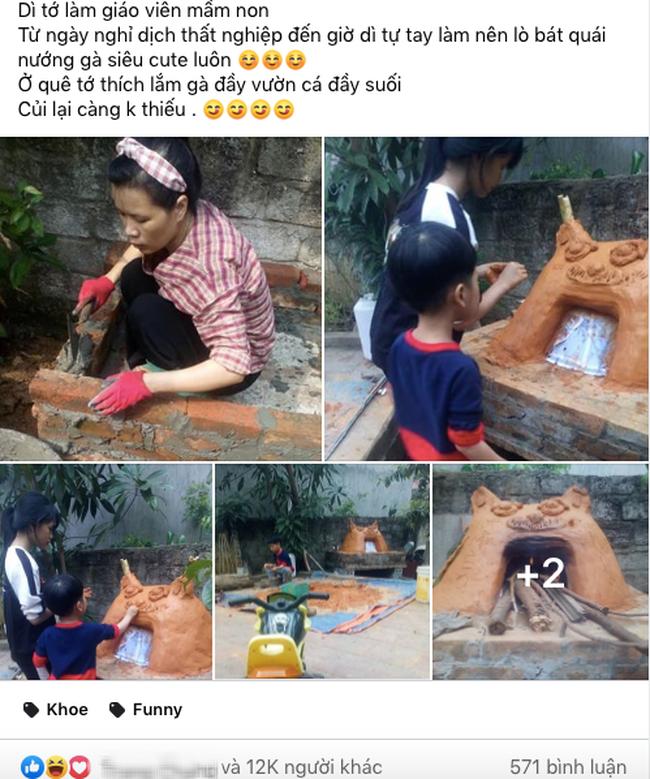 Nghỉ dạy học để tránh dịch cô giáo mầm non tự tay chế tạo lò nướng bằng đất và gạch, nhìn thành quả ai nấy đều trầm trồ - ảnh 1