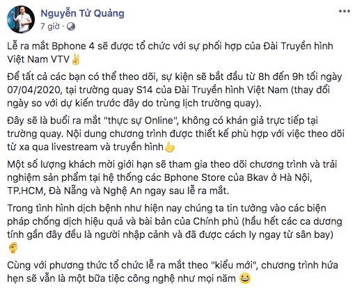 CEO BKAV Nguyễn Tử Quảng lùi lịch ra mắt Bphone 4 vào ngày 7/4: Tổ chức online hoàn toàn, sẽ không có khán giả vỗ tay phía dưới - Ảnh 1.