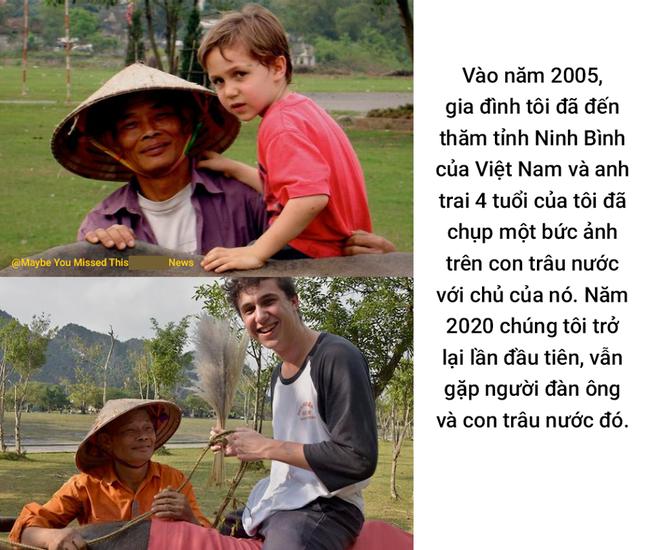 Bức ảnh cậu bé ngoại quốc tìm về người đàn ông chăn trâu ở Ninh Bình sau 15 năm từng gặp mặt khiến dân mạng bồi hồi: Thời gian vô tình quá, ai rồi cũng già đi và lớn lên - Ảnh 1.
