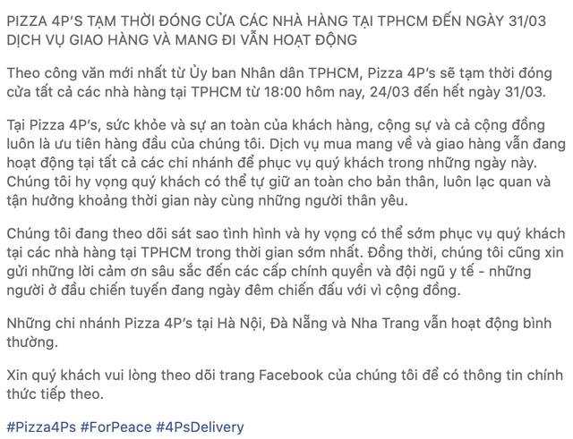 Để tồn tại nhiều nhà hàng lớn đã chuyển sang phục vụ tại nhà, kể cả Pizza 4P's trước đây nói không với ship - ảnh 3