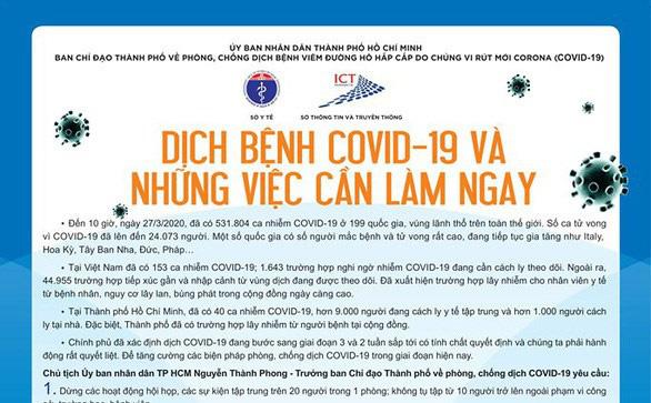 """TPHCM phát 5 triệu tờ rơi về 12 việc cần làm ngay trong """"14 ngày vàng"""" để phòng chống dịch Covid-19"""