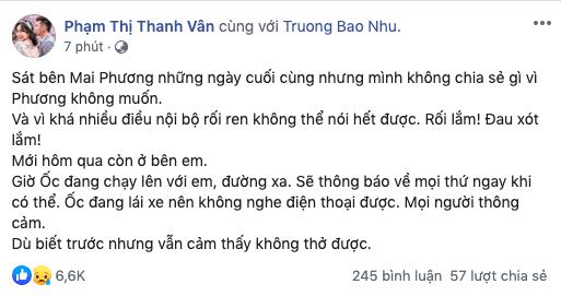 Ốc Thanh Vân sốc không thở nổi, bạn bè đau xót khi biết Mai Phương đột ngột qua đời - Ảnh 5.