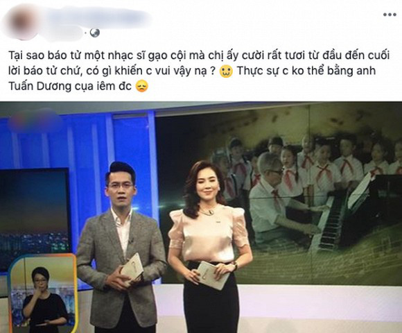 MC Mai Ngọc bị chỉ trích vì biểu cảm tươi cười khi báo tin nhạc sĩ Phong Nhã qua đời trên sóng truyền hình và sự tranh cãi của dân mạng - Ảnh 2.