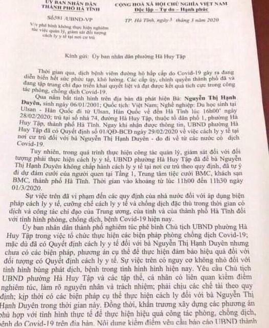 Phê bình 1 chủ tịch UBND phường ở Hà Tĩnh vì để người đang cách ly đi dự đám cưới - Ảnh 1.