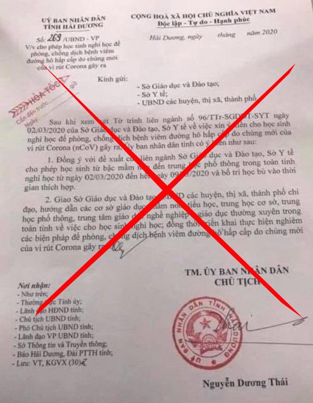 Phát tán văn bản giả mạo UBND tỉnh Hải Dương, cô gái bị phạt nặng - Ảnh 1.