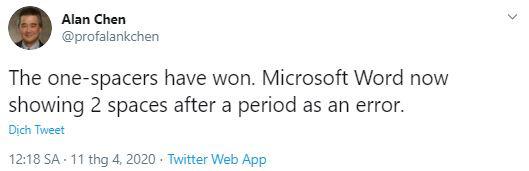Sau khi chấm hết câu nên gõ 1 hay 2 lần dấu cách? Microsoft Word đã có câu trả lời chính thức - Ảnh 2.