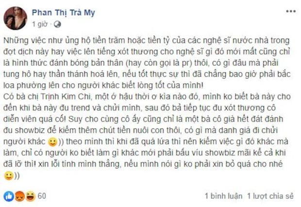 Trà My Thương nhớ ở ai gây phẫn nộ với phát ngôn nghệ sĩ làm từ thiện để PR, mỉa mai NSƯT Trịnh Kim Chi - Ảnh 1.