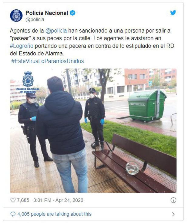 Tây Ban Nha: Bắt giữ người đàn ông vi phạm cách ly xã hội với lí do ra đường dắt cá vàng đi dạo - Ảnh 2.