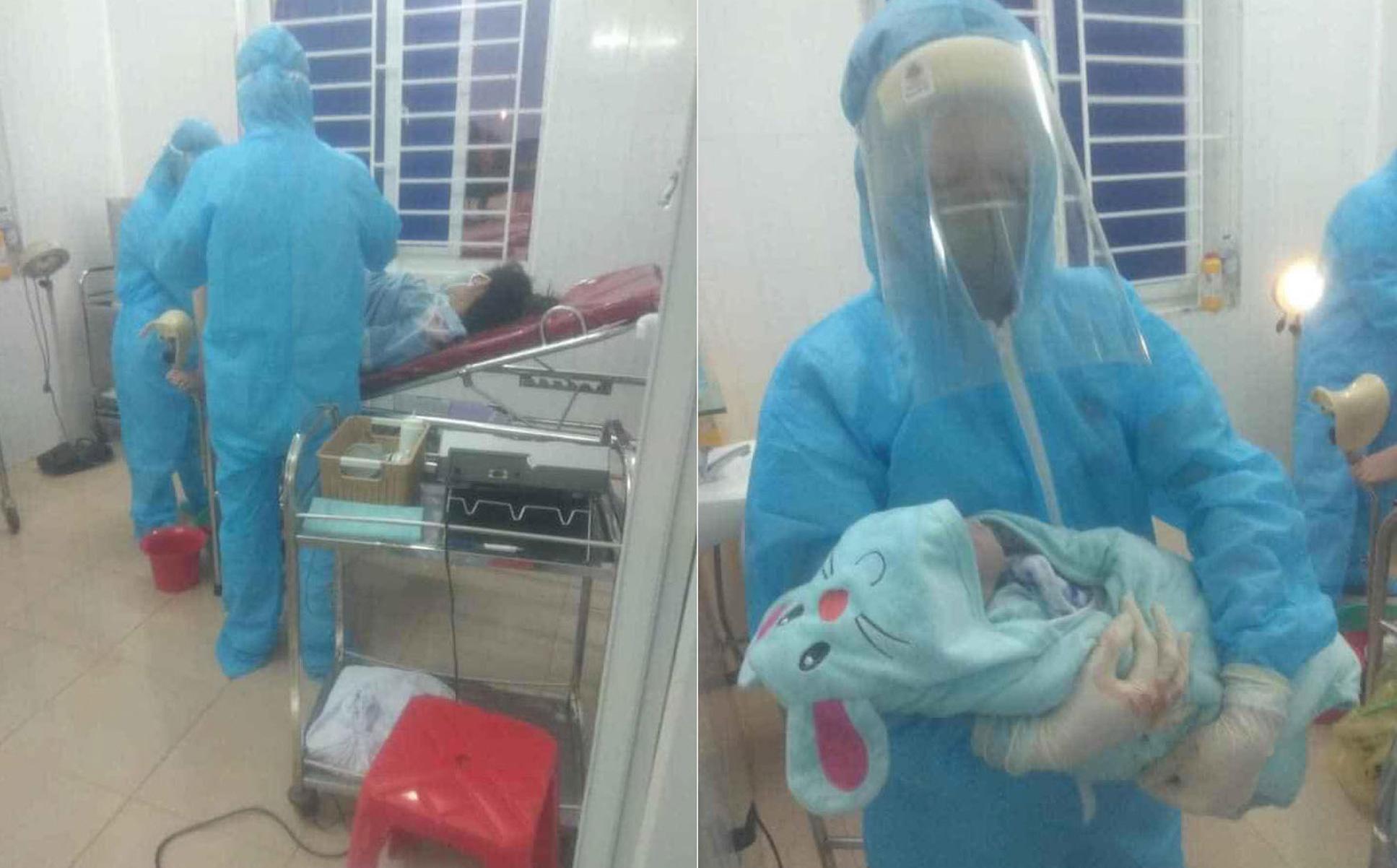 Sản phụ đang cách ly ở bệnh viện được bác sỹ đỡ đẻ...