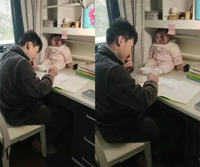 Không làm được bài tập cô giao về nhà, anh trai làm một việc cực lầy lội còn mặt em gái đầy ngác ngơ - ảnh 1