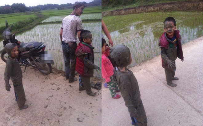 Nghỉ lễ, bố đèo con đi chơi nhưng phi xuống ruộng, bộ dạng của 2 cậu bé khiến dân mạng không thể nhịn cười