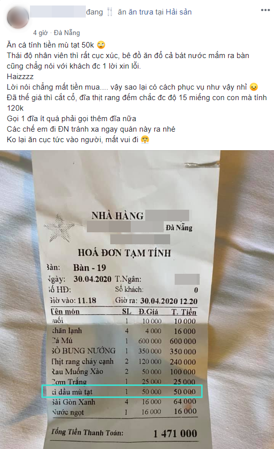 Ăn trưa tại nhà hàng hải sản ở Đà Nẵng, khách giật mình nhìn hóa đơn gần triệu rưỡi bị tính phí 50 nghìn tiền xì dầu, mù tạt khiến nhiều người tranh cãi - Ảnh 1.