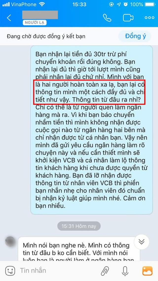 Chuyển nhầm 30 triệu qua tài khoản Vietcombank của người lạ rồi truy SĐT để nhắn tin như đòi nợ: Dân mạng bất bình, ngân hàng lên tiếng - Ảnh 3.