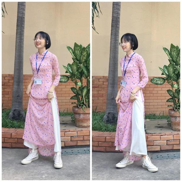Bị học sinh và dân mạng chỉ trích vì diện áo dài lại mang sneaker khi đi dạy, cô giáo Sư phạm lên tiếng giải thích - Ảnh 1.