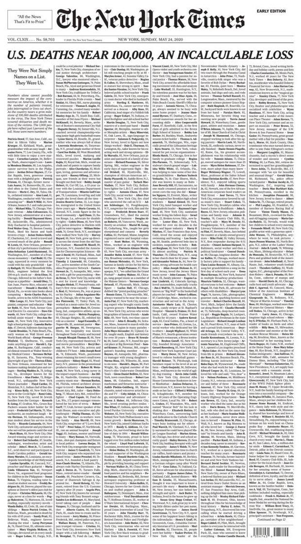 Báo Mỹ đau đớn dành cả trang nhất đăng kín tên 1.000 người chết vì COVID-19 - Ảnh 1.