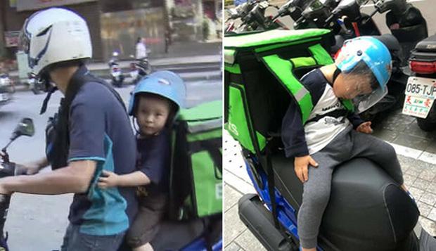Hình ảnh em bé ngủ gục sau yên xe cùng bố đi giao hàng khắp mọi nẻo đường lay động trái tim cộng đồng mạng - Ảnh 2.